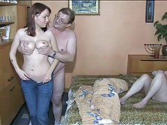 Old couple and young chick fool around in bed tubes