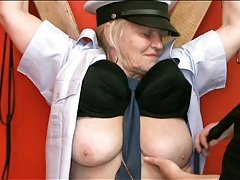 Chained up granny sub fondled in dungeon tubes