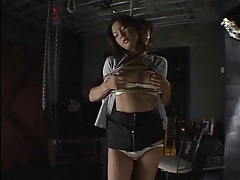 Japanese teen in panties tied up and groped tubes