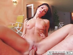 Skinny bitch with big cock fucking her tubes