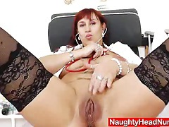 Wifey redhead fingering in uniforms tubes
