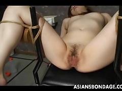 Japanese slave slut gets her wet pussy teased tubes
