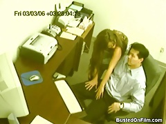 Secretary jerks off her boss in security cam tubes