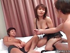 Black lingerie on slut sucking two dicks tubes