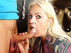 Slender mature sucks his dick tubes