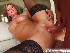 Threesome sex with big nut busted inside her tube