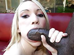 Cute slut sucks big black cock tubes