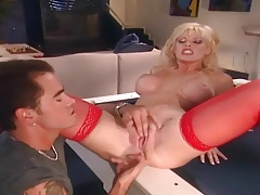 Busty blonde getting fucked in sex red lingerie tubes
