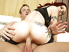 Super hot chick rides cock tubes