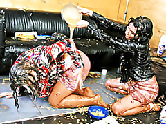 Girls soaked in mess tubes