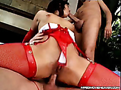 Girl In Red Stockings Fucked Into Both Holes tubes