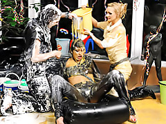 Girls covered in goo tubes