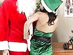 horny elf Tia riding Santa Chibbles cock tubes