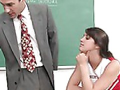 brunette cheerleader gets a special lesson from her professor tubes
