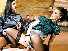 Two blouse chicks ride dick tubes