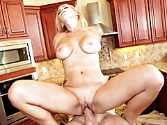 Blonde milf on cock in kitchen tubes