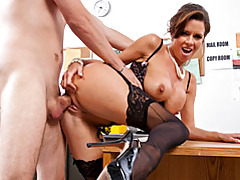 Office slut in pearls fucked tubes