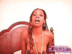 Shaved black girl gets good interracial fuck tubes