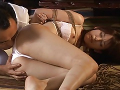 Tied up japanese girl fucked by dildo tubes