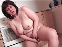 Masturbating mature fucks hole with dildo tubes