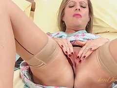 Satin and sexy seamed stockings on milf tubes