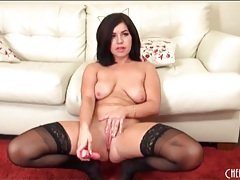 Big pink dildo fucks belle noire deep tubes
