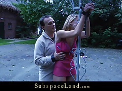 Slavegirl crucified and whipped outdoor tubes