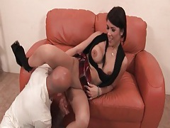 Slut in short skirt sucks big cock tubes
