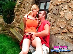 Big tits schoolgirl sucks cock outdoors tubes
