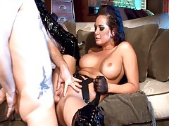 Wild brunette fucked in shiny black stiletto boots tubes