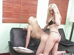 Blonde shemale gets butt fucked hard by a hot tranny tubes