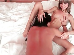 Two girls suck and fuck in sexy threesome tubes