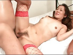 Japanese slut in red fishnets fucked in her box tubes