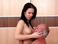 Hard grandpa cock sucked by sexy brunette tubes