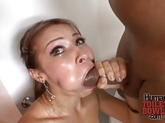Braces slut sucks big black dick tubes