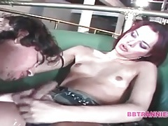 Rock hard tranny dick barebacks his ass tubes