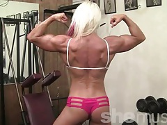 Nathalie - her hair is hot pink. her muscles are just hot. tubes