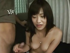 Shy girl gives a handjob in the van tubes