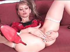 Mature in heels and stockings fingers pussy tube