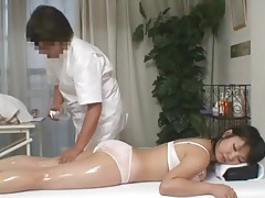 Masseur rubs down busty japanese babe tubes