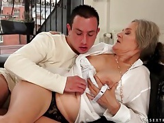 Kissing grandma and sucking her titties tubes