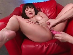 Toys make this shaved pussy squirt lustily tubes