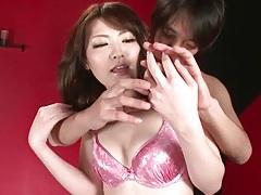 Shiny pink lingerie on tomoka sakurai tubes
