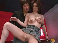 Shaved japanese vagina pleasured by a toy tubes