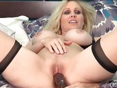 Julia ann puts on sexy seamed stockings tubes