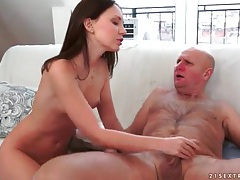 Young lady gets sexy rimjob from old guy tubes