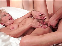 Granny bush fucked by his young dick tubes