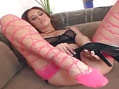 Fingering in thigh high stockings and a teddy tubes