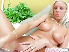 Blonde with perky tits masturbates her pussy tubes