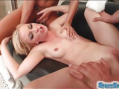 Cum swapping action with two blondes tubes